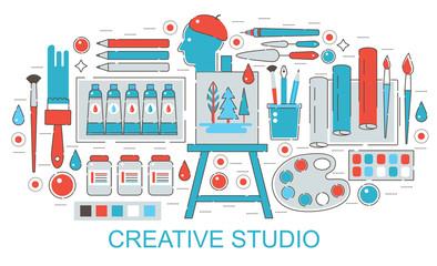Modern Flat thin Line design Creative or painter art web studio concept for web banner website, presentation, flyer and poster.