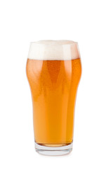 Beer in glass isolated