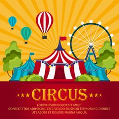 Funfair. Circus performance, Circus tent. Flat illustration