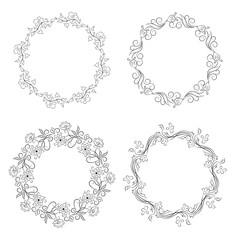 Floral vintage round frames collection. Decorative romantic frame
