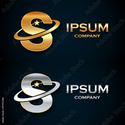 Abstract Letter S Logogold And Silver Star Symbolsign Saturnring