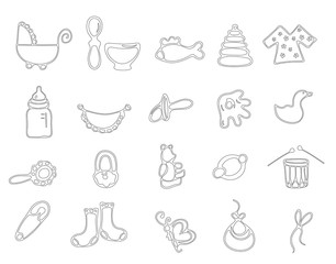 Thin line baby icons vector