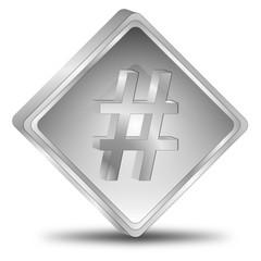 Hashtag Button - 3D illustration