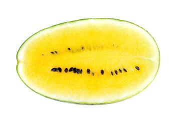 yellow watermelon slices on white background