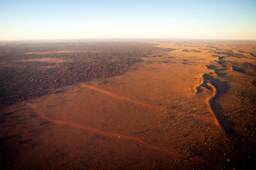 Aerial View of Desert Outback Australia at Sunset
