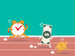 Money run against time. time is money. Flat design for business financial marketing banking advertisement web content icon character concept cartoon illustration.