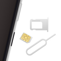 Smartphone, Small Nano Sim Card, Sim Card Tray and Eject Pin. Vector objects isolated on white. Realistic vector icons. Top view.
