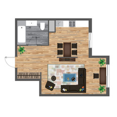 Architectural Color Floor Plan. Studio Apartment Vector Illustration. Top View Furniture Set. Living room, Kitchen, Bathroom. Sofa, Armchair, Bed, Dining Table, Chair, Carpet.