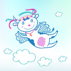 Illustration of flying funny cow in the sky with clouds