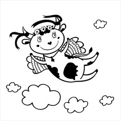 Black and white illustration of flying funny cow in the sky with clouds.