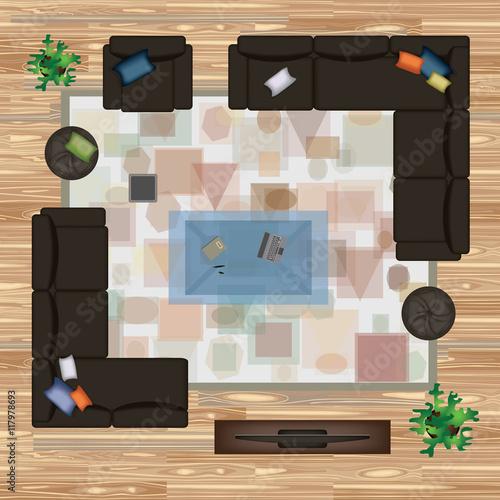Sofa Armchair Pillows Carpet Coffee Table Pouf Plants Vector