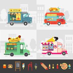 Food truck set, street food vector design.