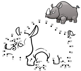 Vector Illustration of Education dot to dot game - Rhinos