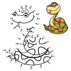 Vector Illustration of Education dot to dot game - Snake