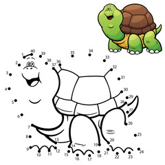 Vector Illustration of Education dot to dot game - Turtle