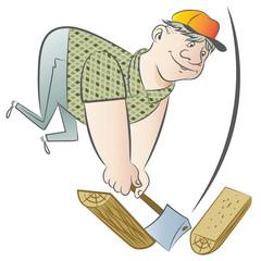 Funny man chopping wood.
