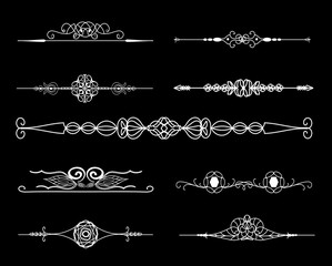 Vintage borders. Set of calligraphic decorative vector dividers.