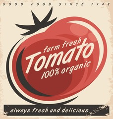 Tomatoes retro ad design with red juicy tomato on old paper texture