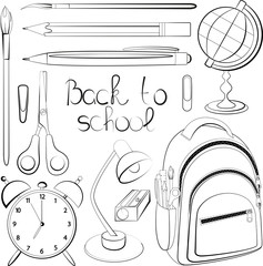 hand-drawn accessories to studying and the words back to school