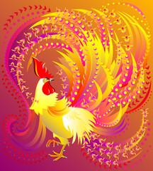 Illustration of beautiful fantasy fairyland rooster, vector cartoon image.