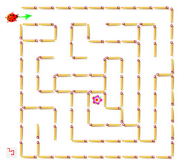 Logic puzzle with labyrinth - need to remove one matchstick so that the  ladybird could walk till the flower. Vector image.