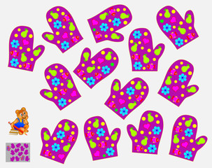 Logic puzzle for children. Need to find pair of mittens with absolutely identical pattern. Vector image.
