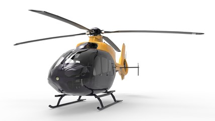 Black and yellow civilian helicopter on a white uniform background. 3d illustration.