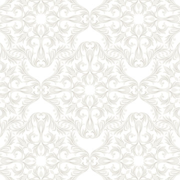 Vintage Baroque Rococo ornament pattern. Vector damask decor. Royal Victorian texture for wallpapers, textile, fabric