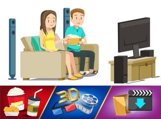 Basic home entertainment element. Couple watching movie in house. Weekend with family. Download from internet and play by modern television.