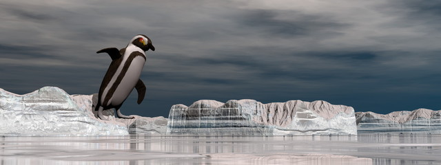 Penguin jumping into the water - 3D render