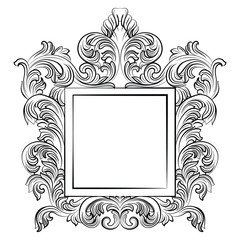 Vintage Imperial Baroque Rococo frame. Vector French Luxury rich carved ornamented decor. Victorian wealthy Style structure