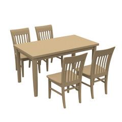 家族団らんイメージのキッチンのダイニングテーブル(机)とチェアー(机)3Dレンダリング画像