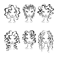 hairstyles for curly hair, fashionable hairstyles. vector