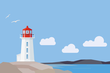 Flat Design Nova Scotia landscape with Peggys Cove lighthouse