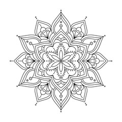 Outline Mandala for coloring book, anti-stress therapy pattern. Ethnic decorative round elements. Islam, Arabic, Indian, ottoman motifs. Hand drawn vector background. Oriental line ornament