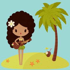Hawaiian Hula dancer is singing