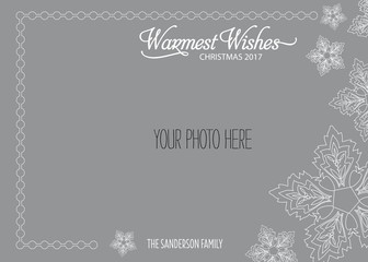 Christmas, Holiday Photo Card Template with Vector Snowflakes - Warmest Wishes