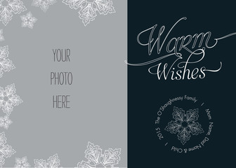Christmas, Holiday Photo Card Template with Snowflakes - Vector