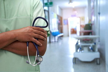 Close up unknown nurse and stethoscope in hospital