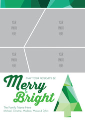 Christmas Greeting Card Template - Modern, Abstract Christmas Tree - Vector