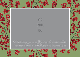 Christmas, Holiday Photo Card Template - Red and Green Holly Berry - Vector
