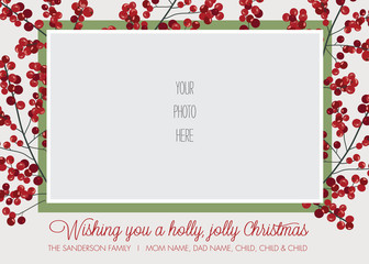 Holly Frame Photo Christmas, Holiday Card Template - Vector