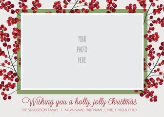 Holly Frame Photo Christmas, Holiday Card Template - Vector