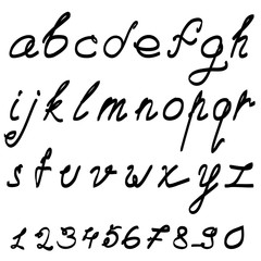 Calligraphic vector font with numerals.
