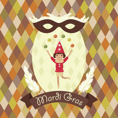 "Mardi Gras card. Juggler with colorful balls. Carnival mask with feathers. Banner with text ""Mardi Gras""."