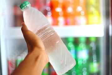 cool water in plastic bottle