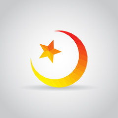 Star and crescent icon in polygonal style on a gray background