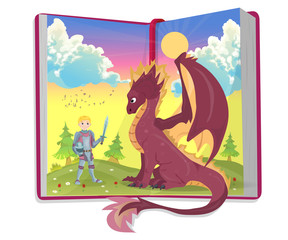 Open book of fairytales with knight and dragon illustration