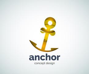 Vector ship anchor logo template