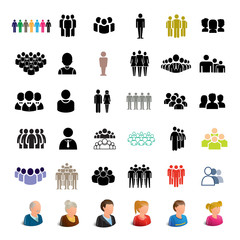 People Icons Set - Isolated On White Background